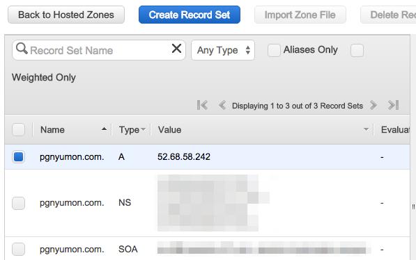DNS(Amazon Route 53)へ、Aレコードを設定