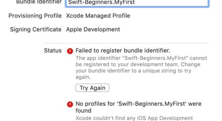 Xcodeで「Failed to register bundle identifier」「No profiles for 'XXXXX' were found」エラーへの対応
