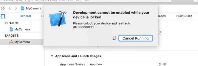 Development cannot be enabled while your device is locked. Please unlock your device and reattach.