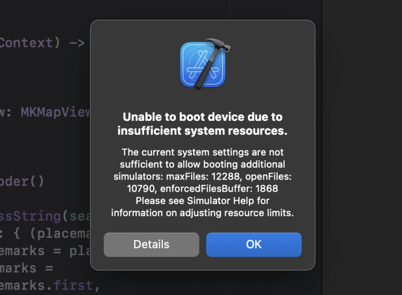 【Xcodeシミュレータ】Unable to boot device due to insufficient system resourcesメッセージへの対応